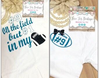 Football Mom or Football Girlfriend Shirt. Glitter Football with Glitter Bow. Football Mom Shirt. Football Girlfriend Shirt. Monogram Gifts