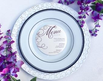 """5"""" Round Menu, Fancy Menu Design Circle Menu, ROUND MENU, Charger Menu, Reception Menu Cards"""