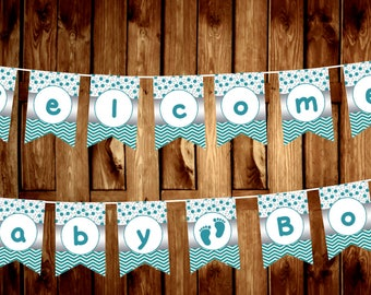 Welcome Baby Boy Banner in Teal-DIGITAL FILE ONLY