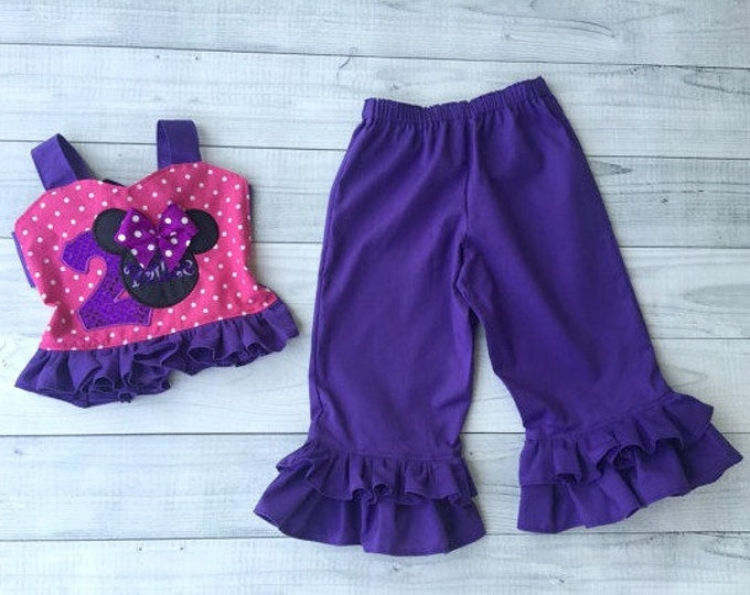 Minnie Mouse Birthday Personalized Top and Ruffled Pants Set by Hello Lalla