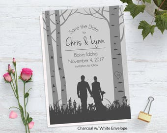 Tree Save the Date Card ~ Woodland Wedding Save the Date ~ Woods Save the Date ~ Woodland Save the Date ~ Forest Save the Date ~ Birch Trees