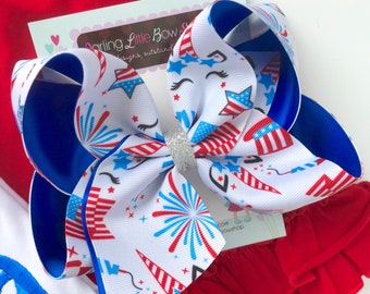 """Unicorn Bow for 4th of July, unicorn hairbow in red, white and blue choose 4-5"""" or 6-7"""""""