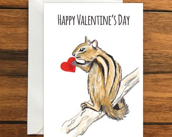 Happy Valentines Day Chipmunk One Blank Greeting card and Envelope A6