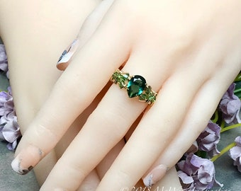 Hydrothermal Green Quartz, Dark Emerald Green Hand Crafted Wire Wrapped Ring in 14k GF or Sterling Silver, May Birthstone, Unique Engagement