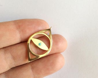 1pc-  Gold Plated Matte Bead  Evil Eye Connector-35x15mm- (007-053)