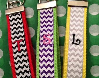 Chevron Monogrammed Fun Wristlet Key Chains Names Initials Teachers Gifts Key Fob