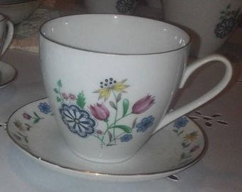 Brigitta by Bohemia Ceramic- 2 SETS  Tea cup and saucer - W/ REDUCED SHIPPING