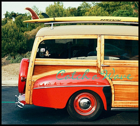 California Beach Photo, Woody Car Print, Coastal Home Decor, Beach Photography, Surfer Print