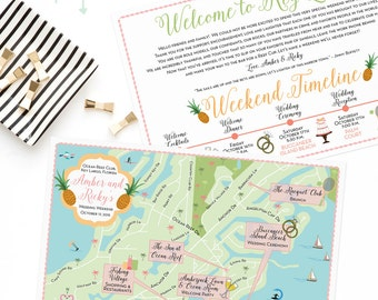 Custom Wedding Map, Key Largo Map, Island Wedding,Destination Wedding, Custom Map Design, Custom Illustrated Map, Itinerary, Out of town bag
