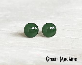 Dark Green stud earrings, Green earrings, Green post earrings, Hypoallergenic earrings, Deep Green round studs Ear Sugar, EarSugar studs