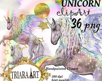 Watercolor Unicorn Clipart, Unicorn Clipart. Unicorn clip art. Rainbow Unicorn Clipart. Rainbow Clipart. Fantasy Unicorn Clipart Digital