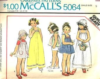 Vintage 1970' s McCall's Pattern 5064 Girls Dress, Jumper, Hat Size 5