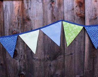 SAMPLE SALE Blue & Green Garden Fabric Banner (free shipping!)