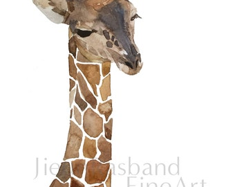 Baby Giraffe -Original Watercolor Fine Art Print, nursery decor, animal art print, wall art, watercolor, Giraffe painting