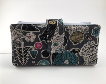 Dave Ramsey Style Cash Envelope System Wallet (Grey doodles  and Teal) 4 zipper