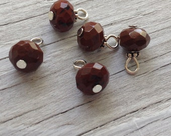 Beaded Charms, Wire wrapped gemstone beaded charm  red jasper