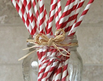 Striped Paper Straws, Red and White, 25
