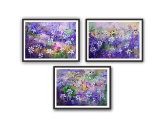 Purple Abstract Acrylic Watercolor Paintings picture, Set of 3 paintings, White flowers painting, Abstract wall art, Fine art painting print