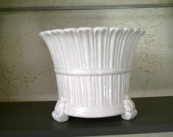 Antique Vintage Rare Made in Spain Fancy Decorative Footed Planters Pot Holder Pure White Glazed @ LOOK @