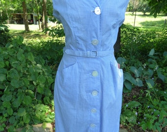 Vintage 1950's Dress, Blue Gingham Button Sheath dress, New Old Stock/ never worn
