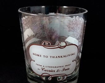 Currier & Ives Home To Thanksgiving Glass