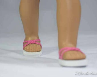 American Girl, 18 inch doll SANDALS SHOES Flipflops in Bright PINK Woven Toe Band and Two Straps with Heel Strap