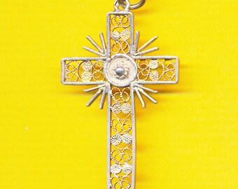 Sterling Silver FILGREE Religious Cross Catholic crosses Croix Crucifix  (ref 12398)