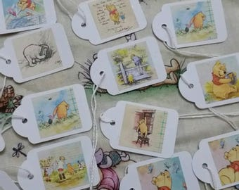Set of 6 mini Pooh bear tags (4 x2 cm)