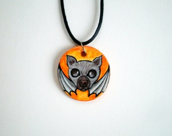 Halloween Bat Necklace, Bat pendant, gothic jewelry