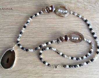 THAI/piedras semiprecious Necklace/Agate/agate Pendant/Elegant chic casual Boho