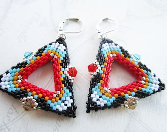 Beaded earrings shaped triangle 3D, black, multicolored patterns, inscrustation crystals blue, topaz, Red