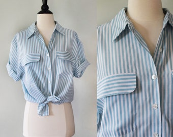Vintage blue and white striped style button up blouse / short sleeve collared shirt