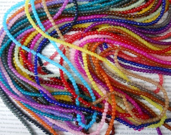 4mm glass beads in 18 assorted random colors, 150pcs beads.