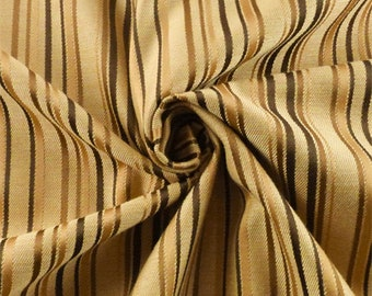 Beige/Brown Twill Stripe Home Decorating Fabric, Fabric By The Yard