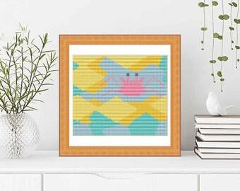 PATTERN: Crab (3) Pastel  cross stitch pattern, Modern Cross Stitch Pattern, Cute Cross Stitch Pattern, Instant Download PDF