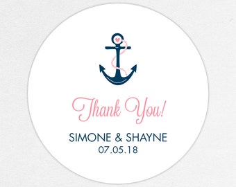 Wedding Favor Labels, Favor Tags, Favor Stickers, Wedding Labels, Printed Labels, Stickers, Nautical, Watercolor, Anchor, Pink, Anchors Away