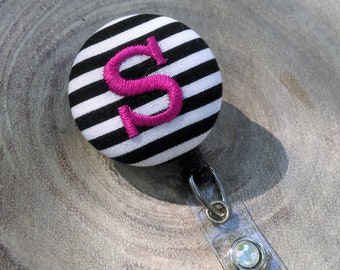 Monogram Badge Reel, Retractable badge Reel, ID Badge Holder, Black and White Stripe