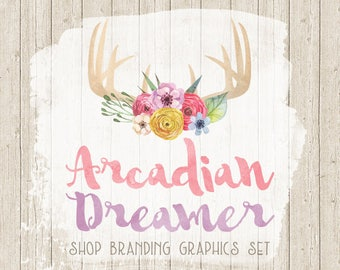 Rustic Wood Antlers Shop Branding Banners, Avatar Icons, Business Card, Logo Label + More - 13 Premade Graphics Files - ARCADIAN DREAMER