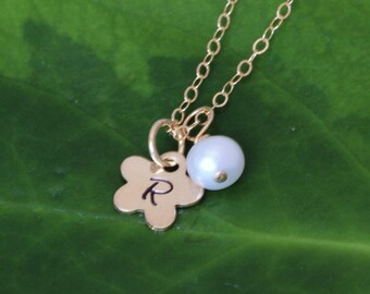 Flower Girl gift - initial necklace 14k gold fill/Sterling silver - Tiny Flower necklace - personalized Neckalce flower girl gift ideas