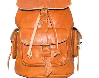 Rustic Leather Rucksack Tan