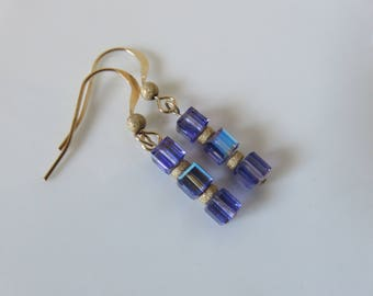 Tanzanite earrings -- Gold filled -- Cubed tanzanite and gold filled earrings