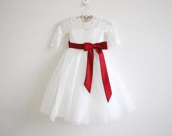 Long Sleeves Light Ivory Flower Girl Dress Wine Sash Bows Lace Tulle Flower Girl Dress With Burgundy Sash/Bows