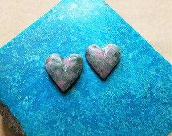 Pink & Green Nevada Lapis Heart Cabochon Pair/ backed