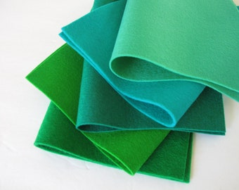 Blue Green Felt, Wool Felt Fabric, Set of Five, 8 x 12 inch, 1mm Thick, Elf Green, Sea Green, Emerald, Sprout, Kelly Green