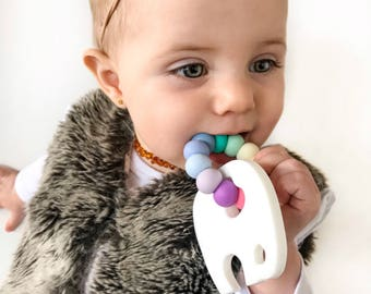 Ellie Elephant Teething Toy with Beaded Silicone Ring
