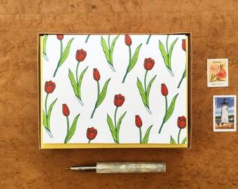 Tulips, Boxed Set of 8 Letterpress Cards, Blank Inside