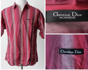 Vintage Men's Christian Dior Shirt Monsieur Stripe - 90s Retro Large L Stripe