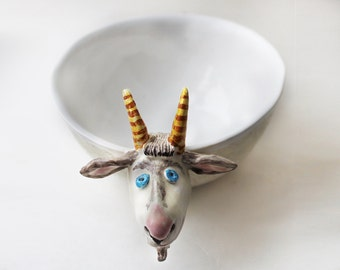 White Goat Ceramic Bowl,Hand painted Art Ceramic soup bowl,salad bowl, handmade  cereal bowl, children tableware,Goat Soup mug