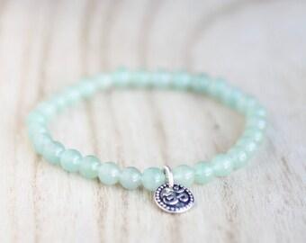 GREEN AVENTURINE Bracelet Prosperity Bracelet Heart Chakra Bracelet Heart Chakra Stone Green Gemstone Bracelet OM Charm Bracelet Yoga