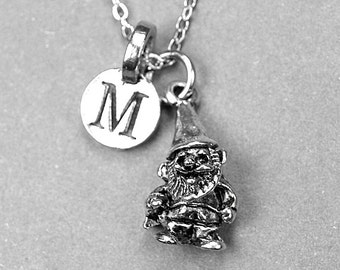 Troll Necklace, Gnome Charm, silver plated pewter, initial necklace, initial hand stamped, personalized, monogram